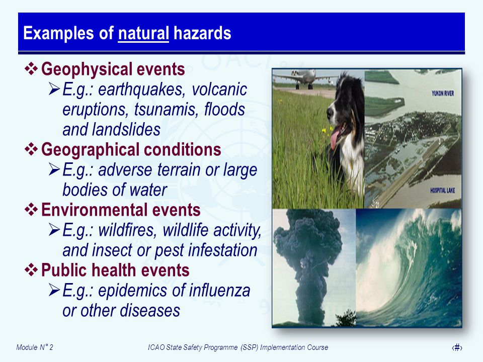 Module N° 2ICAO State Safety Programme (SSP) Implementation Course 22  Geophysical events  E.g.: earthquakes, volcanic eruptions, tsunamis, floods a