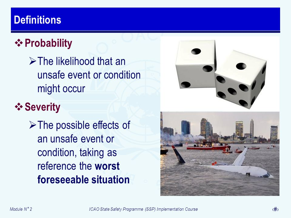 Module N° 2ICAO State Safety Programme (SSP) Implementation Course 27  Probability  The likelihood that an unsafe event or condition might occur  S