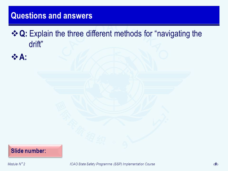 """Module N° 2ICAO State Safety Programme (SSP) Implementation Course 38  Q: Explain the three different methods for """"navigating the drift""""  A: Questio"""