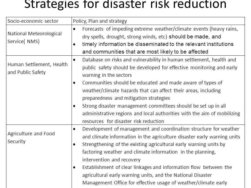 Strategies for disaster risk reduction Socio-economic sectorPolicy, Plan and strategy National Meteorological Service( NMS)  Forecasts of impeding extreme weather/climate events (heavy rains, dry spells, drought, strong winds, etc ) should be made, and  timely information be disseminated to the relevant institutions and communities that are most likely to be affected Human Settlement, Health and Public Safety  Database on risks and vulnerability in human settlement, health and public safety should be developed for effective monitoring and early warning in the sectors  Communities should be educated and made aware of types of weather/climate hazards that can affect their areas, including preparedness and mitigation strategies  Strong disaster management committees should be set up in all administrative regions and local authorities with the aim of mobilizing resources for disaster risk reduction Agriculture and Food Security  Development of management and coordination structure for weather and climate information in the agriculture disaster early warning units  Strengthening of the existing agricultural early warning units by factoring weather and climate information in the planning, intervention and recovery  Establishment of clear linkages and information flow between the agricultural early warning units, and the National Disaster Management Office for effective usage of weather/climate early warning reports for effective disaster management
