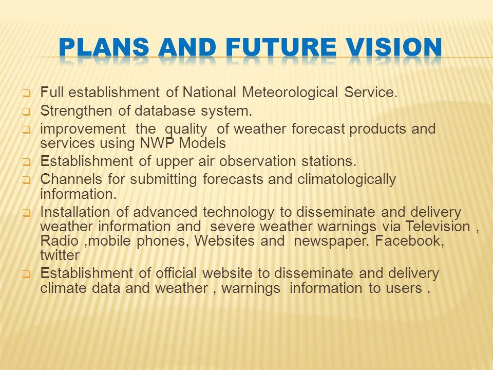  Full establishment of National Meteorological Service.