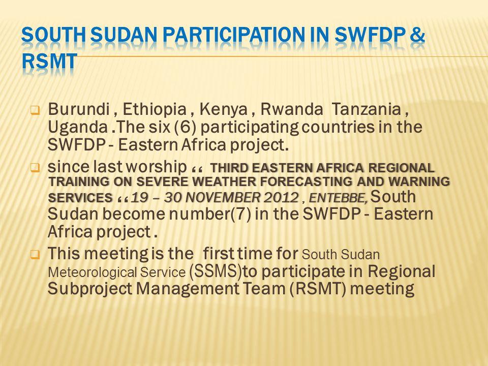  Burundi, Ethiopia, Kenya, Rwanda Tanzania, Uganda.The six (6) participating countries in the SWFDP - Eastern Africa project. THIRD EASTERN AFRICA RE