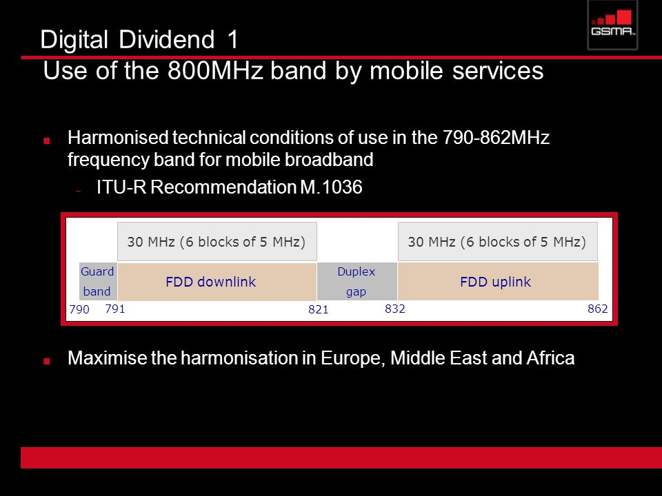 Digital Dividend 1 Use of the 800MHz band by mobile services Harmonised technical conditions of use in the MHz frequency band for mobile broadband – ITU-R Recommendation M.1036 Maximise the harmonisation in Europe, Middle East and Africa FDD downlinkFDD uplink Guard band 790 Duplex gap MHz (6 blocks of 5 MHz)