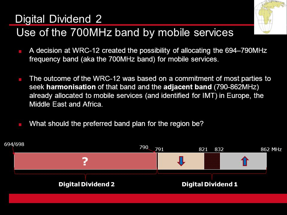 A decision at WRC-12 created the possibility of allocating the 694–790MHz frequency band (aka the 700MHz band) for mobile services.
