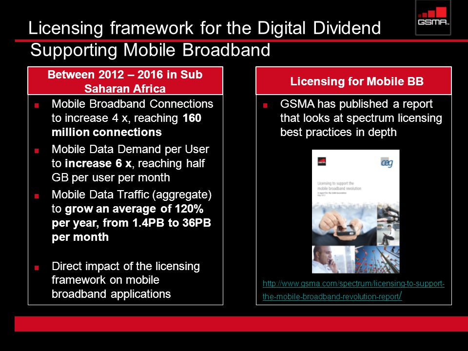 GSMA has published a report that looks at spectrum licensing best practices in depth   the-mobile-broadband-revolution-report / Licensing framework for the Digital Dividend Supporting Mobile Broadband Mobile Broadband Connections to increase 4 x, reaching 160 million connections Mobile Data Demand per User to increase 6 x, reaching half GB per user per month Mobile Data Traffic (aggregate) to grow an average of 120% per year, from 1.4PB to 36PB per month Direct impact of the licensing framework on mobile broadband applications Between 2012 – 2016 in Sub Saharan Africa Licensing for Mobile BB