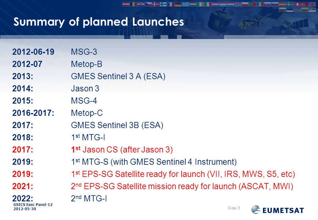 GSICS Exec Panel-12 2012-05-30 Overview Satellite Status GEO-LEO IR Products for current Meteosats using IASI GEO Solar-band Channels for current Meteosats Re-calibration of Meteosat archive data Other Slide: 26