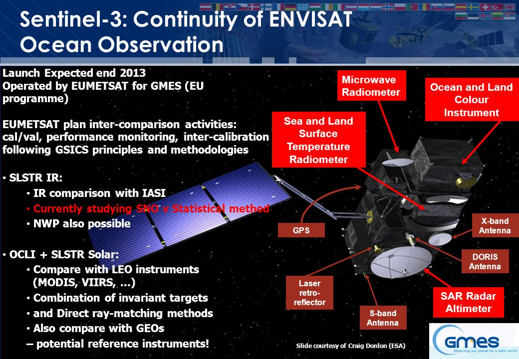 GSICS Exec Panel Sentinel-3: Continuity of ENVISAT Ocean Observation Launch Expected end 2013 Operated by EUMETSAT for GMES (EU programme) EUMETSAT plan inter-comparison activities: cal/val, performance monitoring, inter-calibration following GSICS principles and methodologies SLSTR IR: IR comparison with IASI Currently studying SNO v Statistical method NWP also possible OCLI + SLSTR Solar: Compare with LEO instruments (MODIS, VIIRS, …) Combination of invariant targets and Direct ray-matching methods Also compare with GEOs – potential reference instruments.