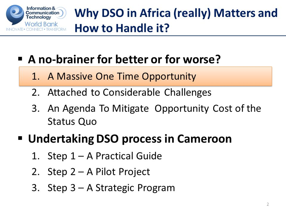 Undertaking DSO process in Cameroon 2.Step 2 – A Pilot Project - eWaste  E-waste and health issues Increase the number of devices Old TV sets being shipped out Availability of substandard decoders Broader issues of electromagnetic radiation 23