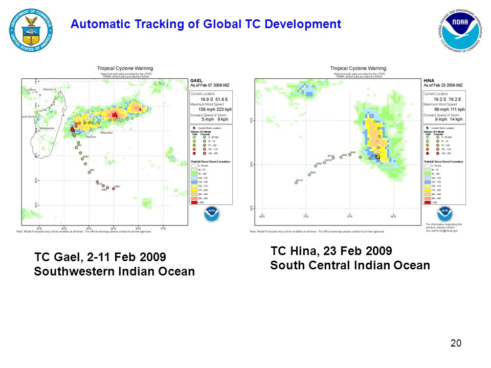 20 Automatic Tracking of Global TC Development TC Hina, 23 Feb 2009 South Central Indian Ocean TC Gael, 2-11 Feb 2009 Southwestern Indian Ocean