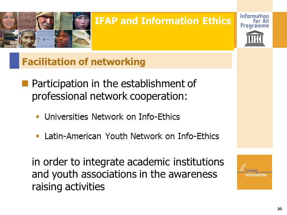 Title :: Date 20 Facilitation of networking Participation in the establishment of professional network cooperation:  Universities Network on Info-Eth