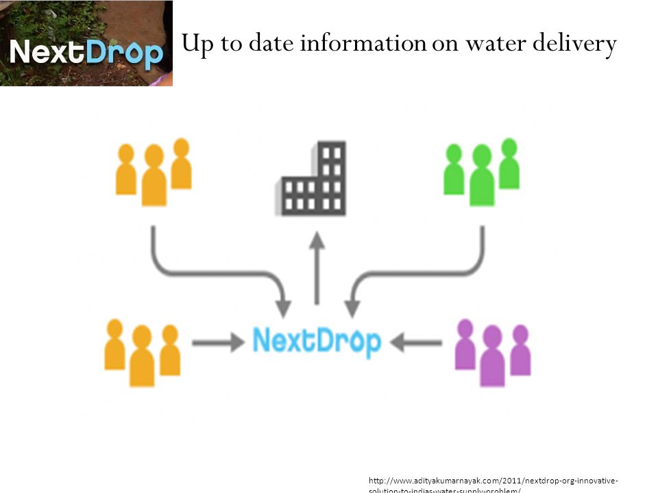 Up to date information on water delivery http://www.adityakumarnayak.com/2011/nextdrop-org-innovative- solution-to-indias-water-supply-problem/