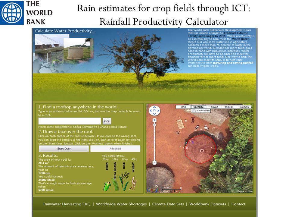 Rain estimates for crop fields through ICT: Rainfall Productivity Calculator