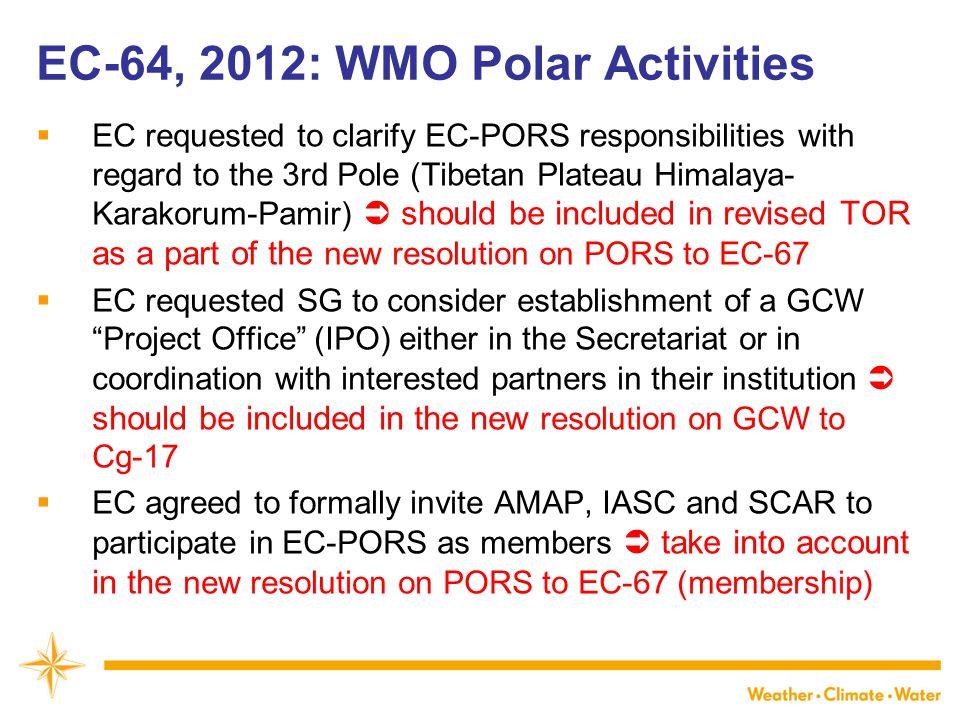 WMO EC-64, 2012: WMO Polar Activities  EC requested to clarify EC-PORS responsibilities with regard to the 3rd Pole (Tibetan Plateau Himalaya- Karako