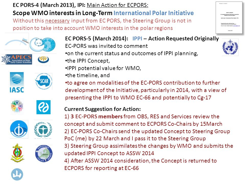 EC PORS-5 (March 2014): IPPI – Action Requested Originally EC-PORS was invited to comment on the current status and outcomes of IPPI planning, the IPPI Concept, IPPI potential value for WMO, the timeline, and to agree on modalities of the EC-PORS contribution to further development of the Initiative, particularly in 2014, with a view of presenting the IPPI to WMO EC-66 and potentially to Cg-17 EC PORS-4 (March 2013), IPI: Main Action for ECPORS: Scope WMO interests in Long-Term International Polar Initiative Without this necessary input from EC PORS, the Steering Group is not in position to take into account WMO interests in the polar regions Current Suggestion for Action: 1) 3 EC-PORS members from OBS, RES and Services review the concept and submit comment to ECPORS Co-Chairs by 15March 2) EC-PORS Co-Chairs send the updated Concept to Steering Group PoC (me) by 22 March and I pass it to the Steering Group 3) Steering Group assimilates the changes by WMO and submits the updated IPPI Concept to ASSW ) After ASSW 2014 consideration, the Concept is returned to ECPORS for reporting at EC-66