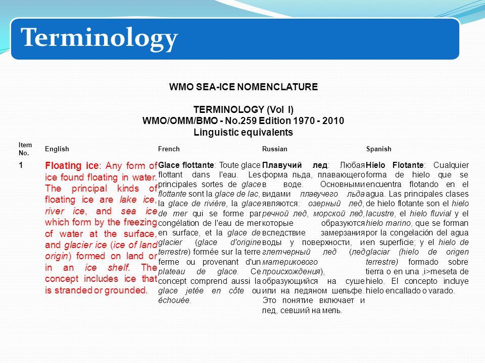 WMO SEA-ICE NOMENCLATURE TERMINOLOGY (Vol I) WMO/OMM/ВМО - No.259 Edition 1970 - 2010 Linguistic equivalents Item No.