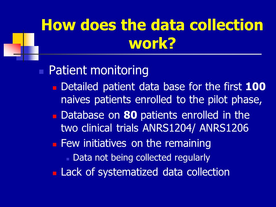How does the data collection work? Patient monitoring Detailed patient data base for the first 100 naives patients enrolled to the pilot phase, Databa