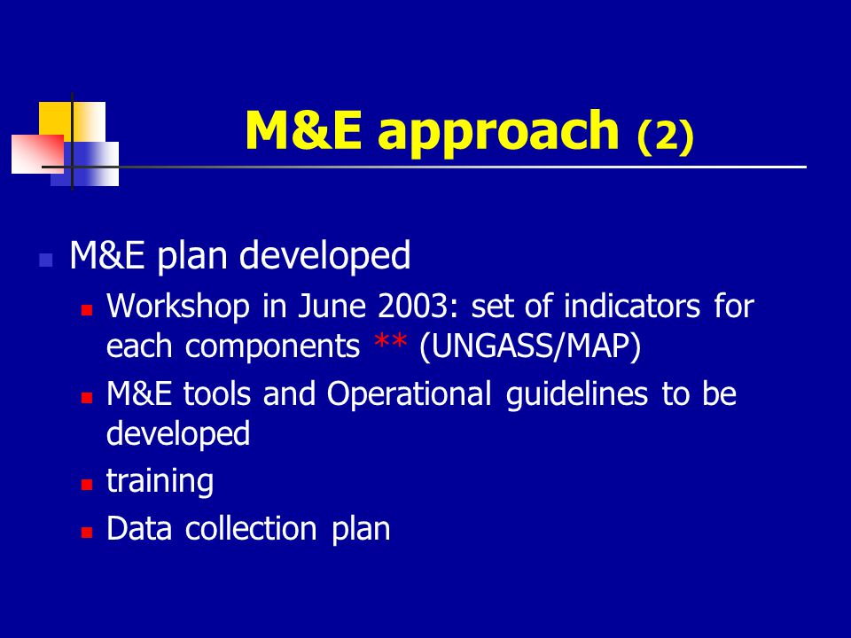 M&E approach (2) M&E plan developed Workshop in June 2003: set of indicators for each components ** (UNGASS/MAP) M&E tools and Operational guidelines