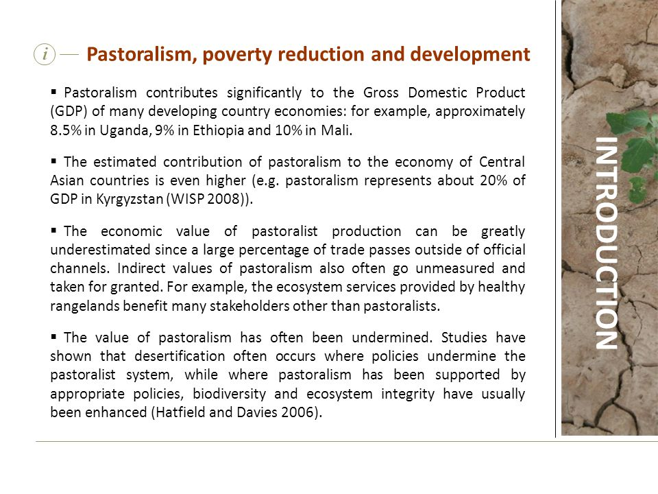 Pastoralism contributes significantly to the Gross Domestic Product (GDP) of many developing country economies: for example, approximately 8.5% in U