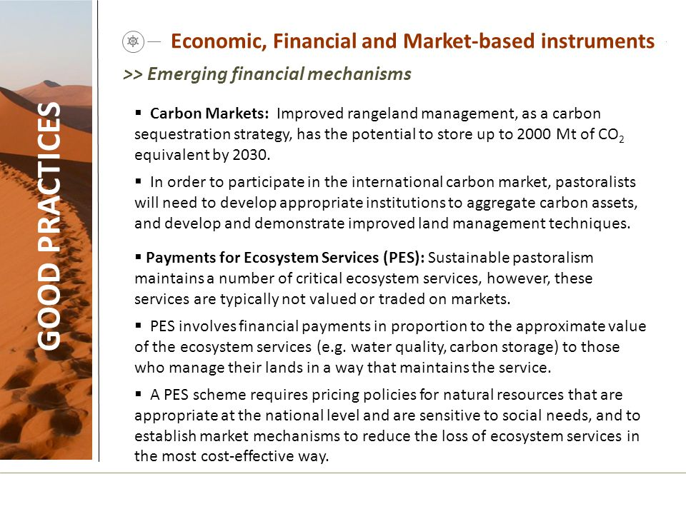 Economic, Financial and Market-based instruments GOOD PRACTICES  Carbon Markets: Improved rangeland management, as a carbon sequestration strategy, h