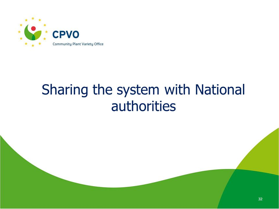 Sharing the system with National authorities 32