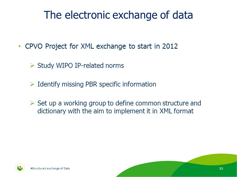 The electronic exchange of data CPVO Project for XML exchange to start in 2012  Study WIPO IP-related norms  Identify missing PBR specific information  Set up a working group to define common structure and dictionary with the aim to implement it in XML format 53  Structured exchange of Data