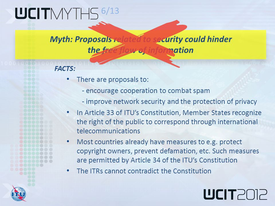 FACTS: There are proposals to: - encourage cooperation to combat spam - improve network security and the protection of privacy In Article 33 of ITU's Constitution, Member States recognize the right of the public to correspond through international telecommunications Most countries already have measures to e.g.