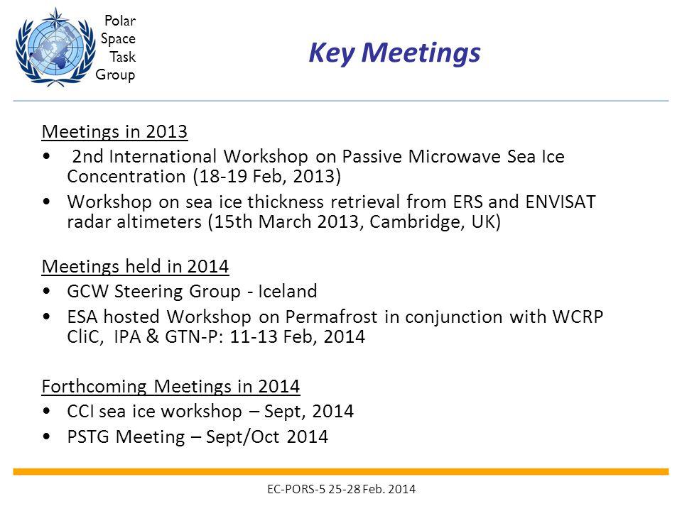 Polar Space Task Group Key Meetings Meetings in 2013 2nd International Workshop on Passive Microwave Sea Ice Concentration (18-19 Feb, 2013) Workshop