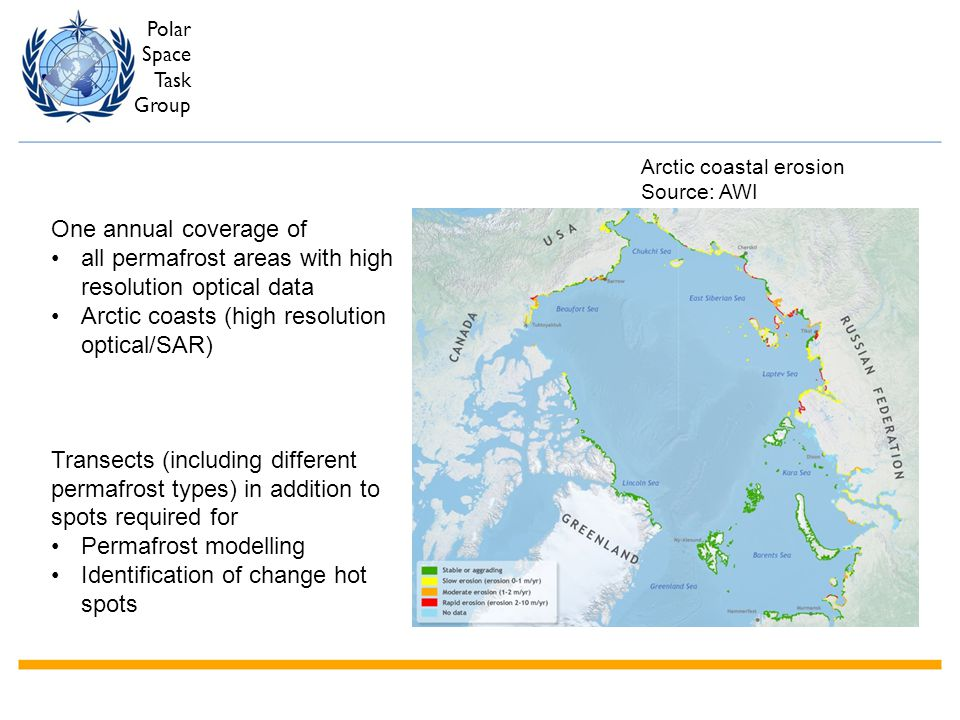 Polar Space Task Group One annual coverage of all permafrost areas with high resolution optical data Arctic coasts (high resolution optical/SAR) Trans