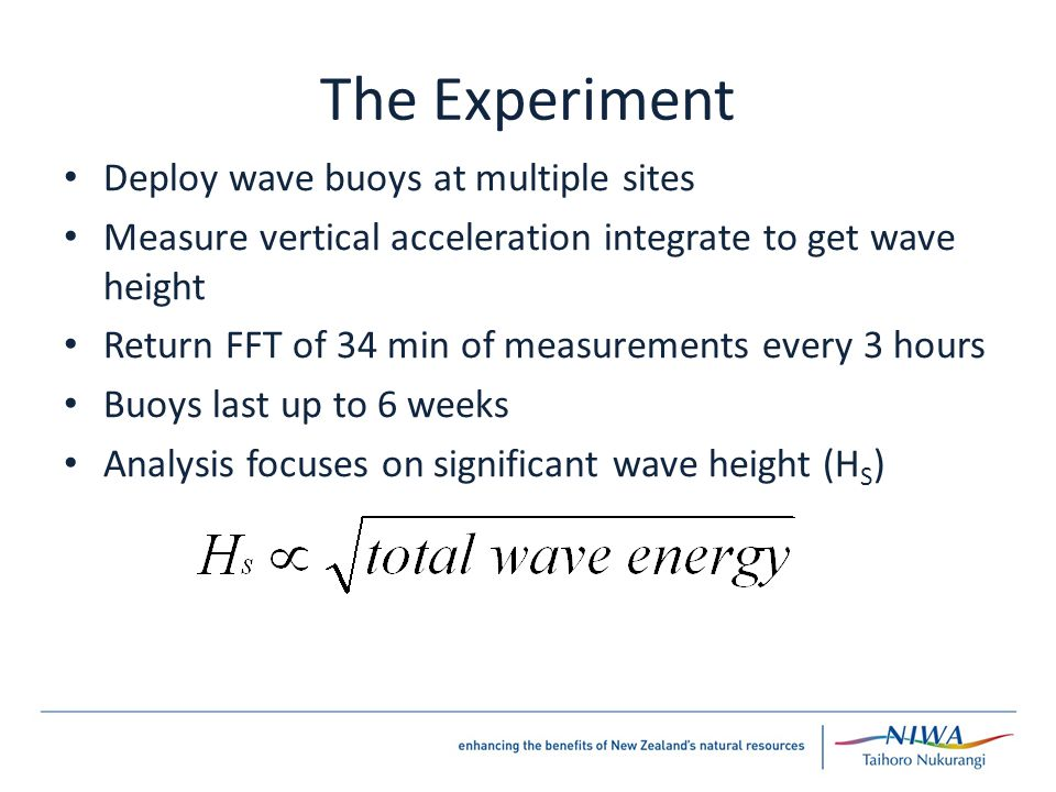 The Experiment Deploy wave buoys at multiple sites Measure vertical acceleration integrate to get wave height Return FFT of 34 min of measurements every 3 hours Buoys last up to 6 weeks Analysis focuses on significant wave height (H S )