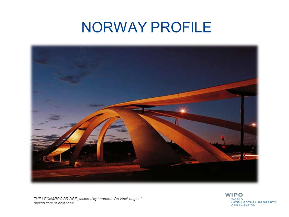NORWAY PROFILE THE LEONARDO BRIDGE, inspired by Leonardo Da Vinci original design from its notebook