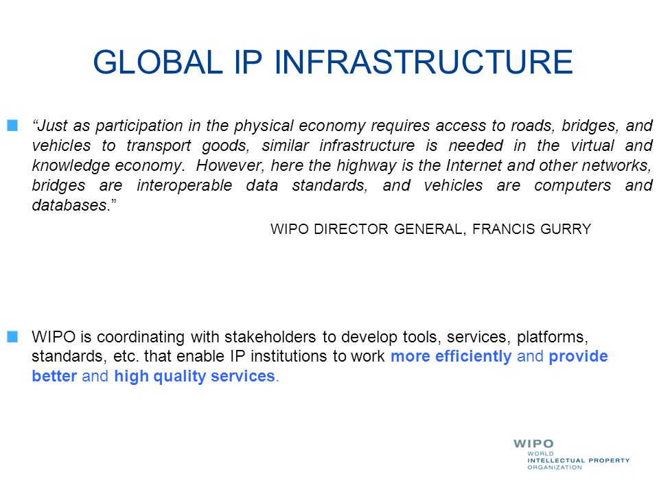 GLOBAL IP INFRASTRUCTURE DYNAMIC DIMENSION OF IP INFRASTRUCTURE INCLUDES :  Databases (PATENTSCOPE, Global Brand DB & access to aRDI and ASPI)  Common platform for e-data exchange among IPOs  Other platforms: WIPO Green; WIPO Research.