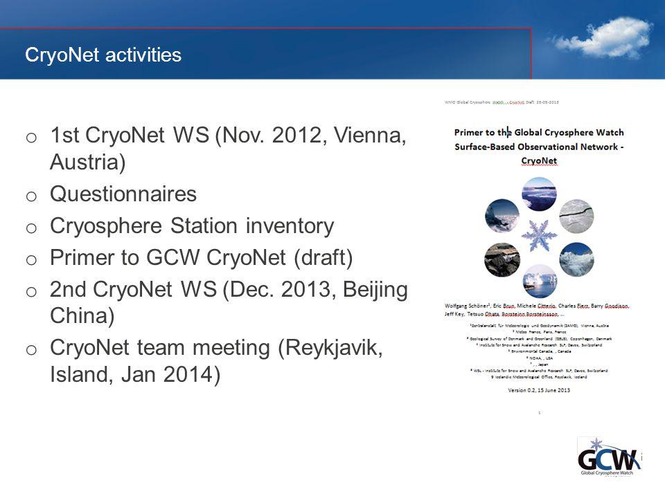 CryoNet activities o 1st CryoNet WS (Nov.