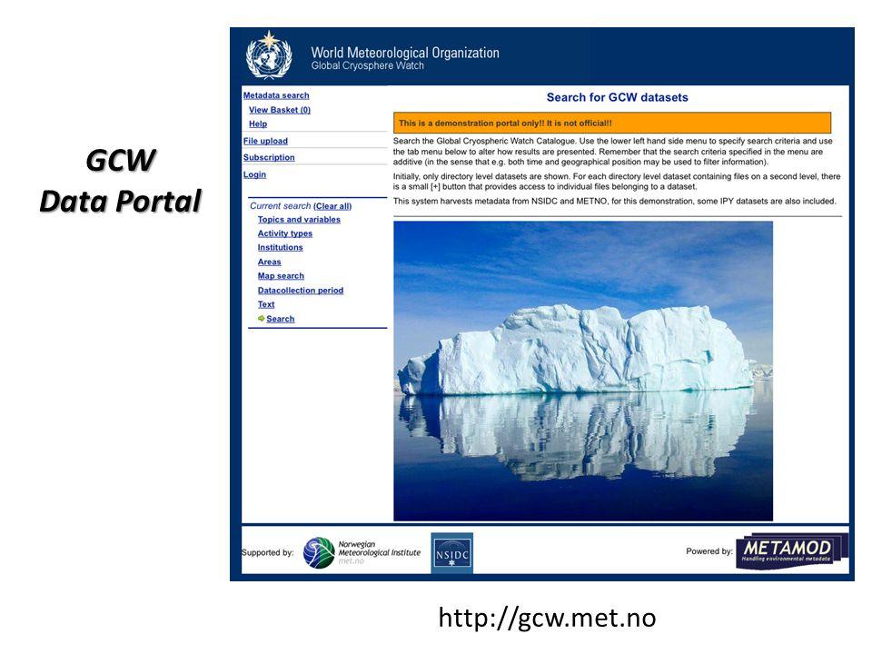 http://gcw.met.no GCW Data Portal