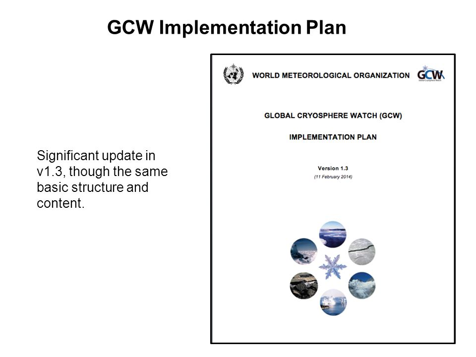GCW Implementation Plan Significant update in v1.3, though the same basic structure and content.