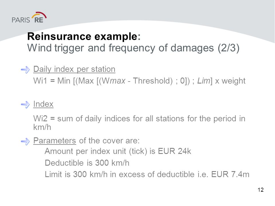 12 Reinsurance example: Wind trigger and frequency of damages (2/3) Daily index per station Wi1 = Min [(Max [(Wmax - Threshold) ; 0]) ; Lim] x weight Index Wi2 = sum of daily indices for all stations for the period in km/h Parameters of the cover are: Amount per index unit (tick) is EUR 24k Deductible is 300 km/h Limit is 300 km/h in excess of deductible i.e.