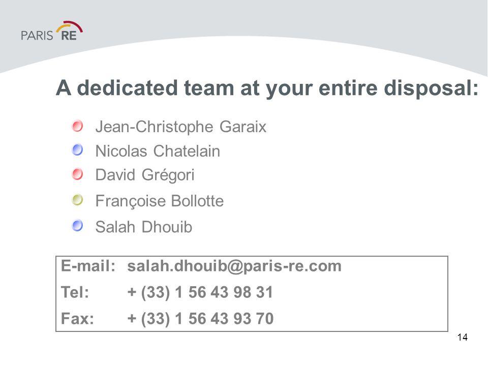 14 E-mail:salah.dhouib@paris-re.com Tel:+ (33) 1 56 43 98 31 Fax:+ (33) 1 56 43 93 70 Nicolas Chatelain Françoise Bollotte Salah Dhouib David Grégori Jean-Christophe Garaix A dedicated team at your entire disposal: