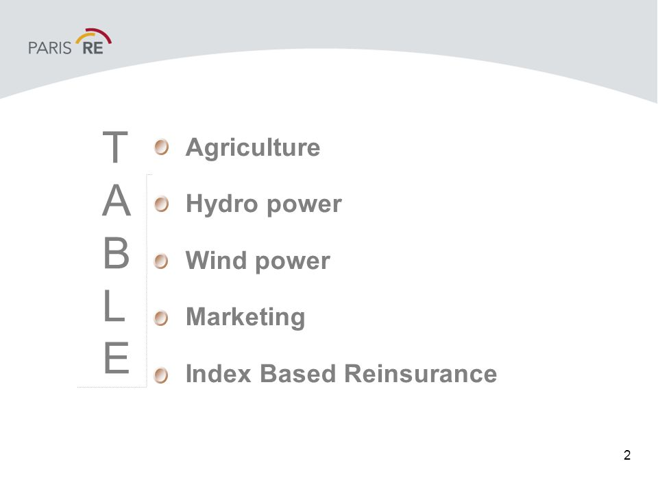 2 Agriculture Hydro power Wind power Marketing Index Based Reinsurance TABLETABLE