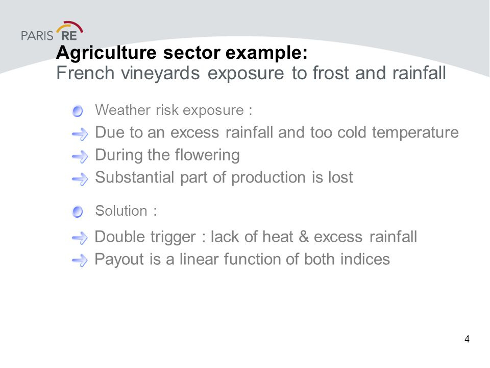 4 Due to an excess rainfall and too cold temperature During the flowering Substantial part of production is lost Weather risk exposure : Solution : Double trigger : lack of heat & excess rainfall Payout is a linear function of both indices