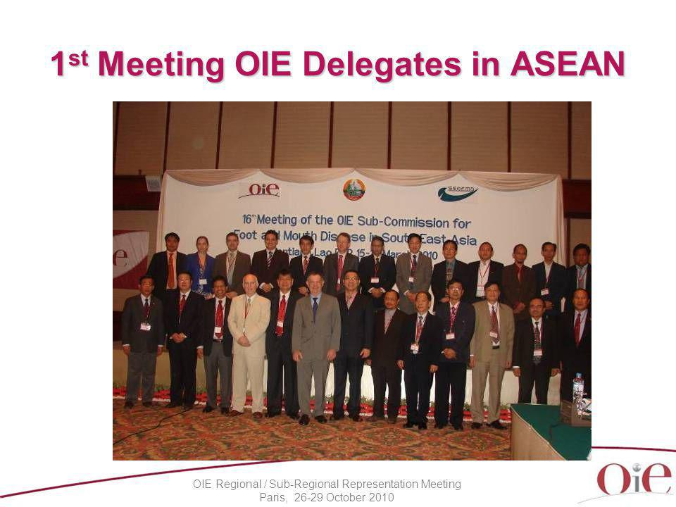 OIE Regional / Sub-Regional Representation Meeting Paris, 26-29 October 2010 1 st Meeting OIE Delegates in ASEAN In conjunction with SEAFMD Sub-commission, held on 19 March 2010, Vientiane, Lao PDR Recommendations –Veterinary Services (VS) of all South East Asian countries be reinforced using the OIE PVS Pathway.