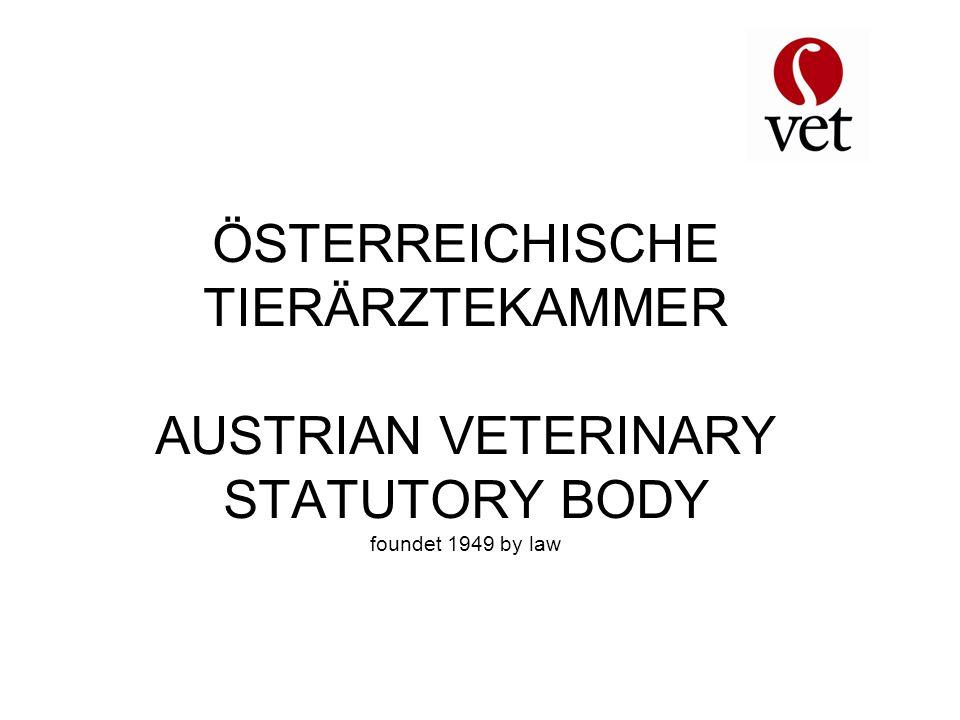 ÖSTERREICHISCHE TIERÄRZTEKAMMER AUSTRIAN VETERINARY STATUTORY BODY foundet 1949 by law
