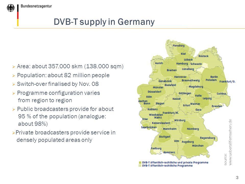 3 source: www.ueberallfernsehen.de DVB-T supply in Germany  Area: about 357.000 skm (138.000 sqm)  Population: about 82 million people  Switch-over