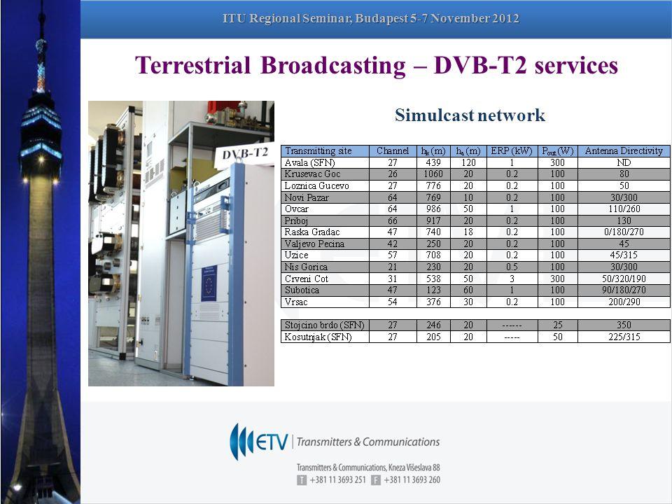 Terrestrial Broadcasting – DVB-T2 services Simulcast network ITU Regional Seminar, Budapest 5-7 November 2012