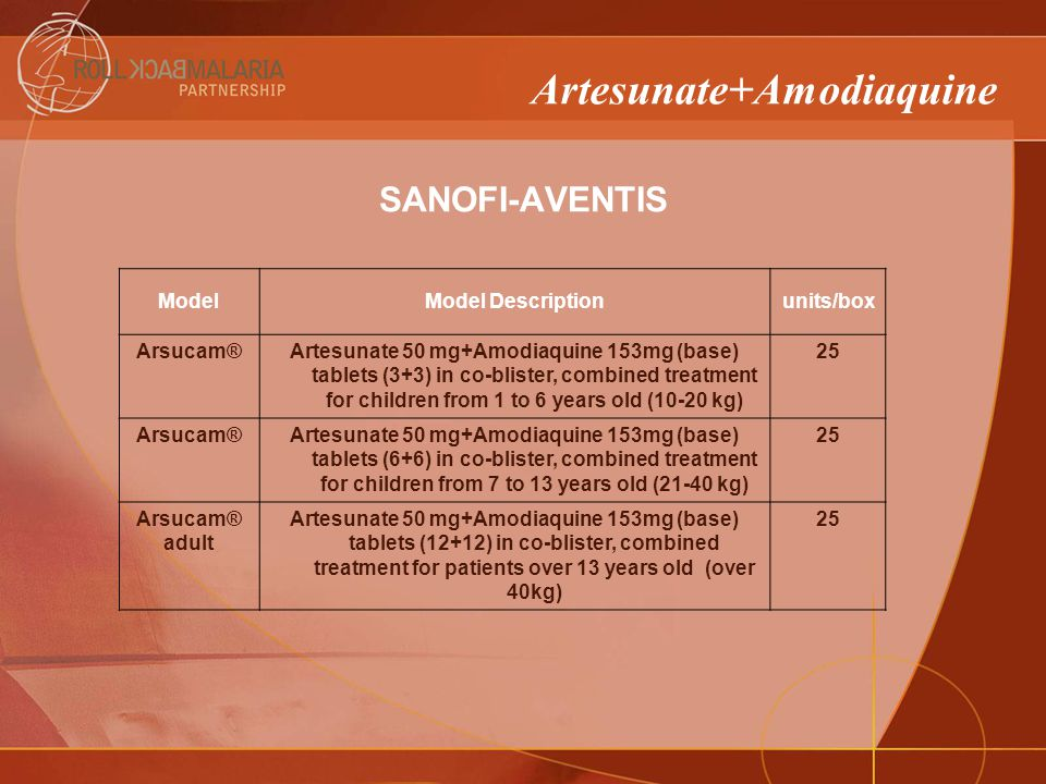 ModelModel Descriptionunits/box Arsucam®Artesunate 50 mg+Amodiaquine 153mg (base) tablets (3+3) in co-blister, combined treatment for children from 1 to 6 years old (10-20 kg) 25 Arsucam®Artesunate 50 mg+Amodiaquine 153mg (base) tablets (6+6) in co-blister, combined treatment for children from 7 to 13 years old (21-40 kg) 25 Arsucam® adult Artesunate 50 mg+Amodiaquine 153mg (base) tablets (12+12) in co-blister, combined treatment for patients over 13 years old (over 40kg) 25 Artesunate+Amodiaquine SANOFI-AVENTIS