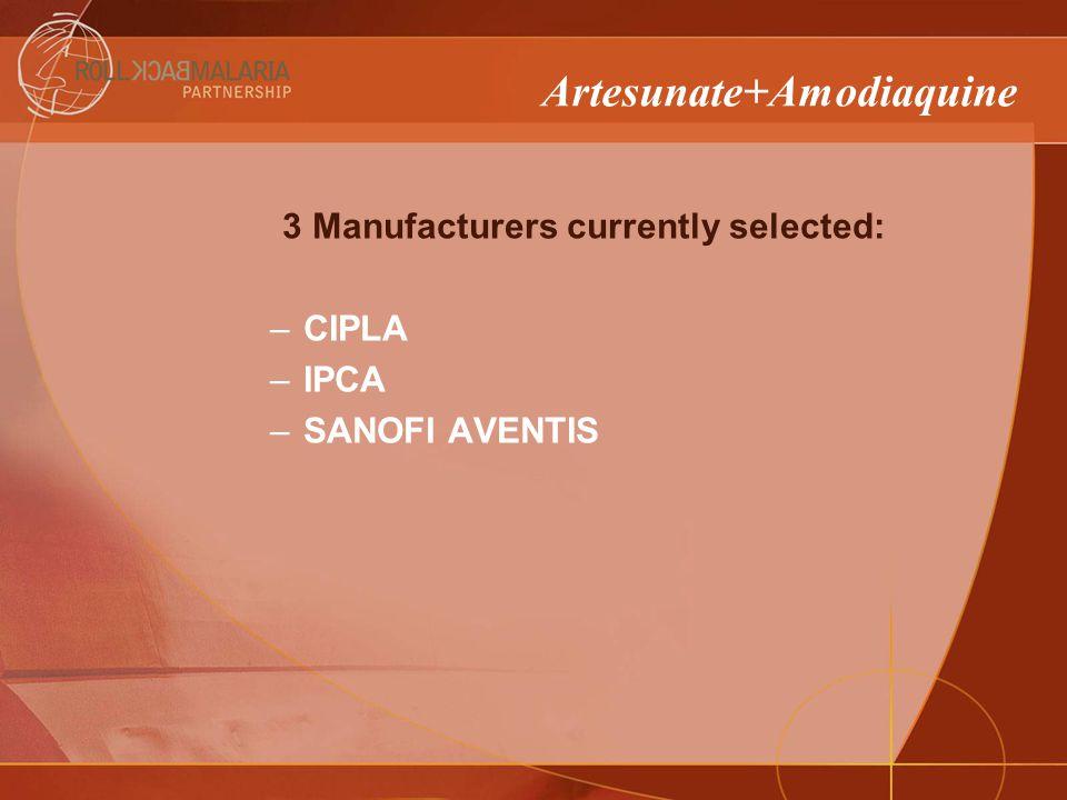 3 Manufacturers currently selected: –CIPLA –IPCA –SANOFI AVENTIS Artesunate+Amodiaquine