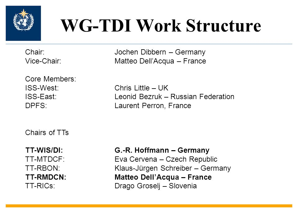 WG-TDI Work Structure Chair:Jochen Dibbern – Germany Vice-Chair:Matteo Dell'Acqua – France Core Members: ISS-West:Chris Little – UK ISS-East:Leonid Bezruk – Russian Federation DPFS:Laurent Perron, France Chairs of TTs TT-WIS/DI: G.-R.