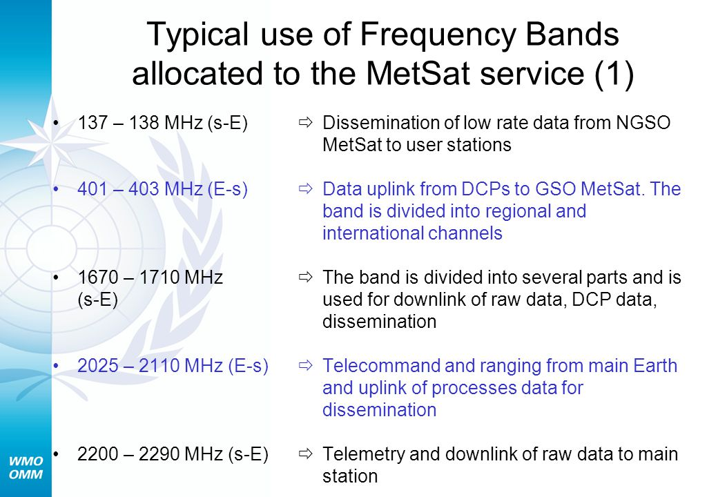 Typical use of Frequency Bands allocated to the MetSat service (1) 137 – 138 MHz (s-E) 401 – 403 MHz (E-s) 1670 – 1710 MHz (s-E) 2025 – 2110 MHz (E-s) 2200 – 2290 MHz (s-E)  Dissemination of low rate data from NGSO MetSat to user stations  Data uplink from DCPs to GSO MetSat.