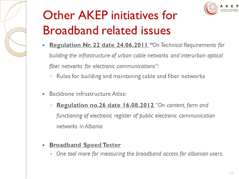 Other AKEP initiatives for Broadband related issues Regulation Nr.