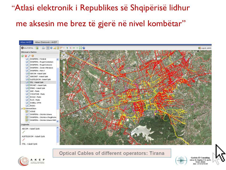 Atlasi elektronik i Republikes së Shqipërisë lidhur me aksesin me brez të gjerë në nivel kombëtar Optical Cables of different operators: Tirana