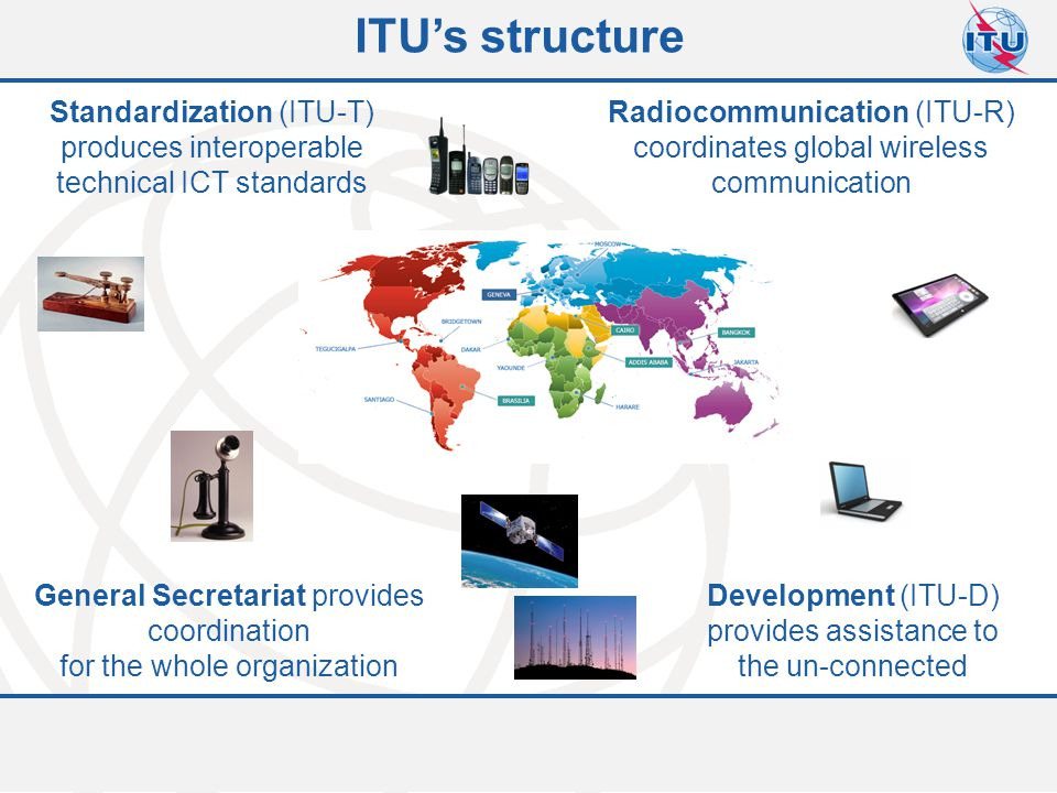 Committed to connecting the world 5 ITU-T Study Group 5 WP1/5 Damage prevention and safety WP2/5 Electromagnetic fields: emission, immunity and human exposure WP3/5 ICT and climate change 5 Questions 6 Questions 7 Questions Mandate Lead study group for:  environment and climate change;  electromagnetic compatibility and electromagnetic effects.