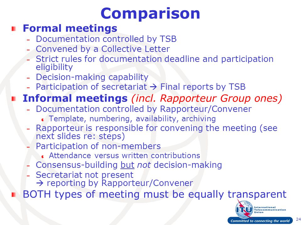 24 Comparison Formal meetings – Documentation controlled by TSB – Convened by a Collective Letter – Strict rules for documentation deadline and participation eligibility – Decision-making capability – Participation of secretariat  Final reports by TSB Informal meetings (incl.